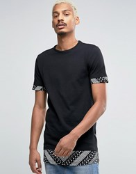 Asos Super Longline Muscle T Shirt With Paisley Sleeve And Hem Extenders With Side Zips Black
