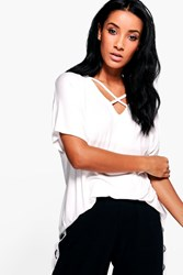 Boohoo Oversized Cross Strap T Shirt White