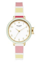 Kate Spade New York Park Row Silicone Strap Watch 34Mm Multi White Gold