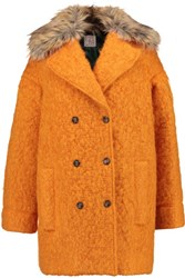 Stella Jean Faux Fur Trimmed Mohair Blend Boucle Coat Orange