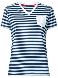 Loveless Striped V Neck T Shirt Women Cotton 34 Blue