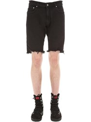 Represent Cotton Blend Denim Shorts Black