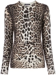 Samantha Sung Knit Leopard Camel Pullover 60