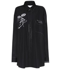 Maison Martin Margiela Embroidered Cotton Shirt Black