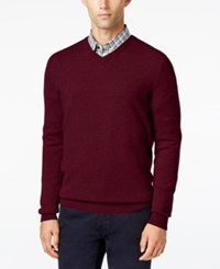 Club Room Cashmere V Neck Solid Sweater Cabernet