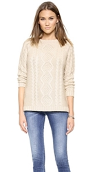 Bop Basics Crew Neck Cable Knit Sweater Stone