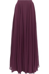 Halston Pleated Georgette Maxi Skirt Purple
