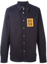 Raf Simons Badge Detail Denim Shirt Blue