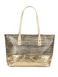 Saks Fifth Avenue Striped Metallic Straw Tote Gold