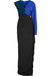 Vionnet Color Block Stretch Silk Jersey And Crepe Gown