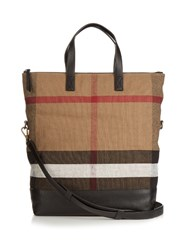 Burberry Armley Checked Canvas Tote Beige Multi