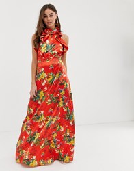 Prettylittlething Maxi Dress With Frill Detail In Red Floral Satin Multi