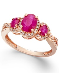 Macy's Ruby 1 1 3 Ct. T.W. And Diamond 1 4 Ct. T.W. Three Stone Ring In 14K Rose Gold
