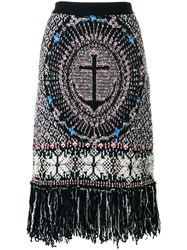 Thom Browne Wool Blend Anchor Embroidery Pencil Skirt Blue