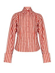 Marques Almeida Gingham Long Sleeved Cotton Shirt Orange White