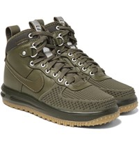 Nike Lunar Force 1 Leather And Rubber High Top Sneakers Green