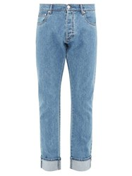 Prada Washed Effect Straight Leg Jeans Light Blue