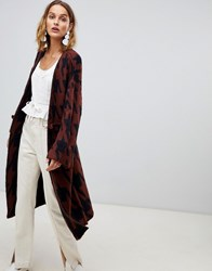 Moon River Houndstooth Oversized Cardigan Rust Black Brown