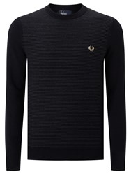Fred Perry Textured Stripe Crew Neck Jumper Black
