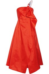 Peter Pilotto One Shoulder Wrap Effect Draped Taffeta Midi Dress Tomato Red