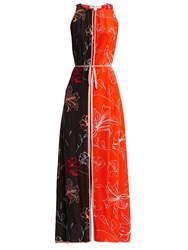 Diane Von Furstenberg Sleeveless Open Back Floral Print Silk Dress Orange Print