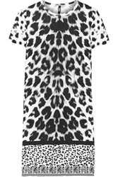 Versus Leopard Print Stretch Cotton Mini Dress White