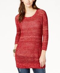 Lucky Brand Marled Open Stitch Pullover Tunic Red Multi