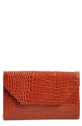Halogen Angled Leather Day Clutch Brown Brown Croc