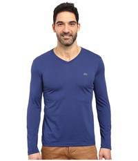 Lacoste Long Sleeve Pima Jersey V Neck T Shirt Waterfall Blue Men's T Shirt Navy