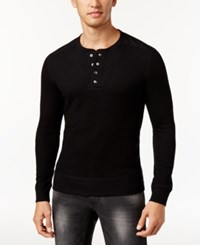 Inc International Concepts Men's Layered Look Henley Sweater Only At Macy's Deep Black