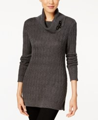 Charter Club Turtleneck Sweater Only At Macy's Charcoal Heather
