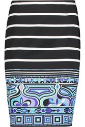 Emilio Pucci Printed Stretch Cotton Mini Skirt Black