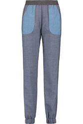 See By Chloe Patchwork Chambray Tapered Pants Mid Denim