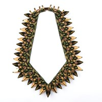 Begada Luxe Necklace Forest Green And Antique Gold