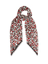 Saint Laurent Heart Print Wool Scarf Black Multi