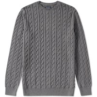 Barbour Cotton Cashmere Cable Crew Knit Grey