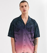 Heart And Dagger Ombre Shirt With Tree Print Navy