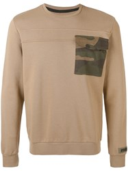 Hydrogen Contrast Patch Sweater Men Cotton S Nude Neutrals