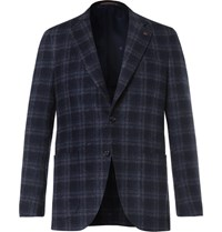 Isaia Blue Slim Fit Plaid Wool Blend Blazer Navy