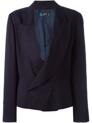 Claude Montana Vintage Double Breasted Blazer Blue
