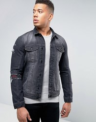 Religion Denim Jacket With Rip Repair Patches Washed Black