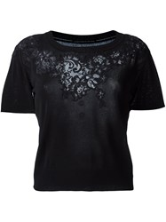 Ermanno Scervino Lace Detail Cropped T Shirt Black
