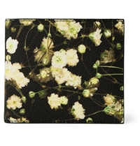 Givenchy Floral Print Faux Leather Billfold Wallet Black