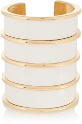 Balmain Gold Tone And Glossed Leather Cuff