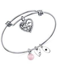 Unwritten Sister Charm And Rose Quartz 8Mm Bangle Bracelet In Stainless Steel