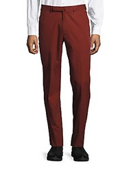 Ermenegildo Zegna Pleated Straight Leg Pants Dark Red Solid