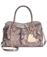 Betsey Johnson Just For The Frill Of It Large Satchel Pewter