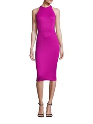 Zac Posen High Neck Sleeveless Cocktail Dress Magenta
