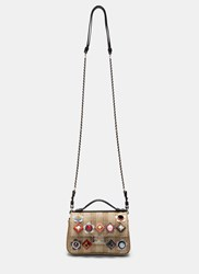 Fendi Micro Baguette Studded Double Sided Straw Bag Black