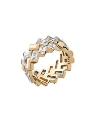 Michael Kors Crystal Cubic Zirconia And Stainless Steel Ring Gold